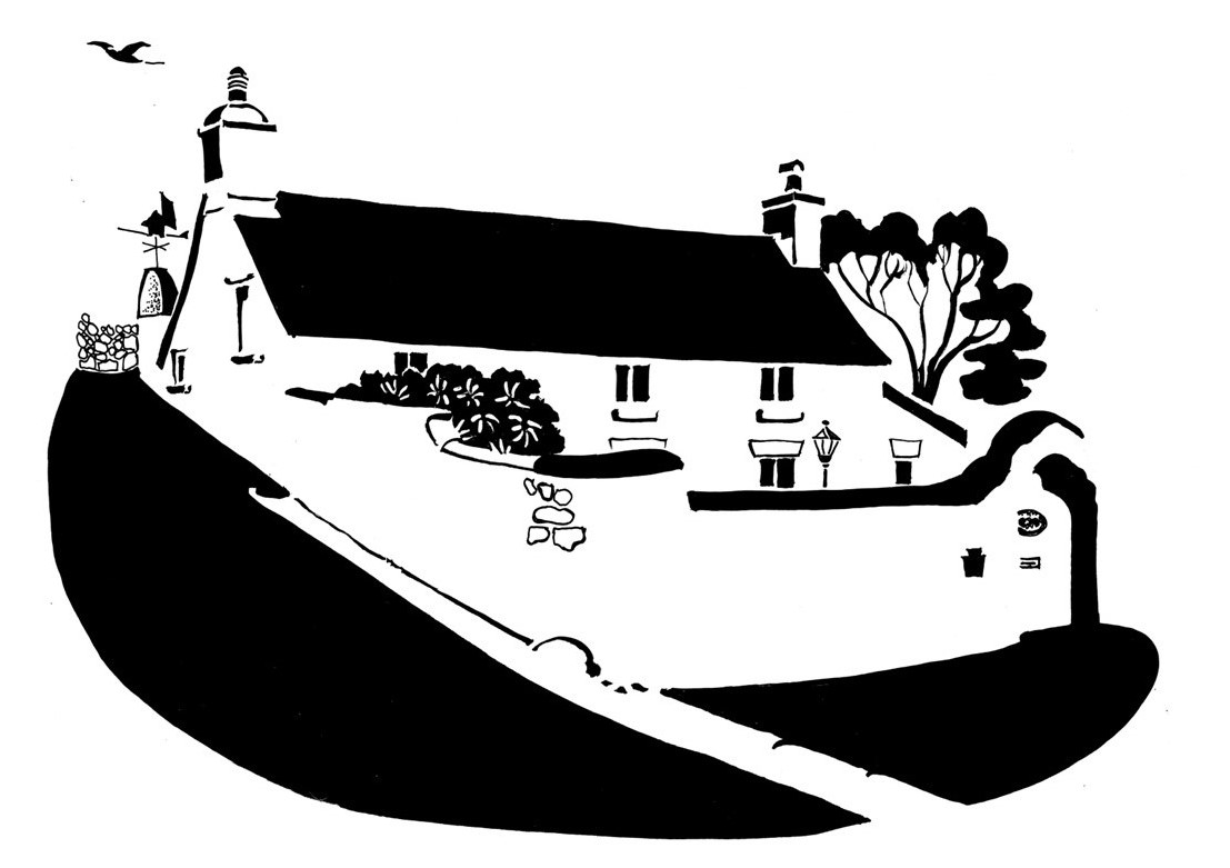 Black and white image of an old cottage