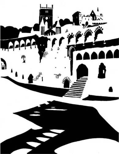 Black and white image of a ruined medieval palace