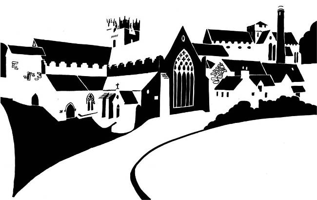 Black and white image of medieval churches
