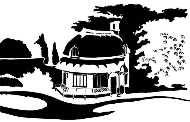 Black and white image of round thatched cottage and garden