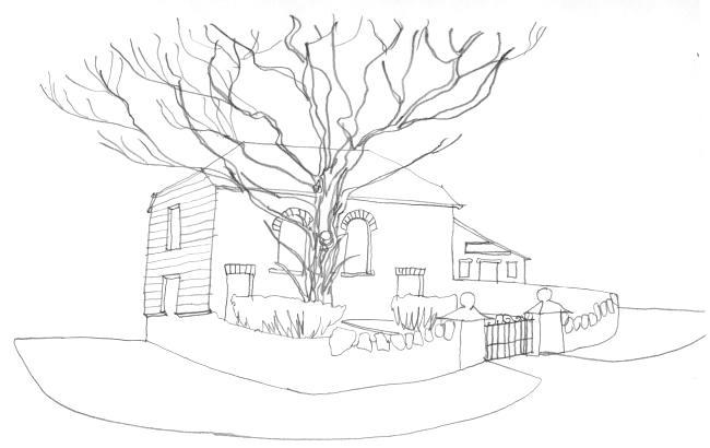 Pencil-line drawing of old Welsh chapel