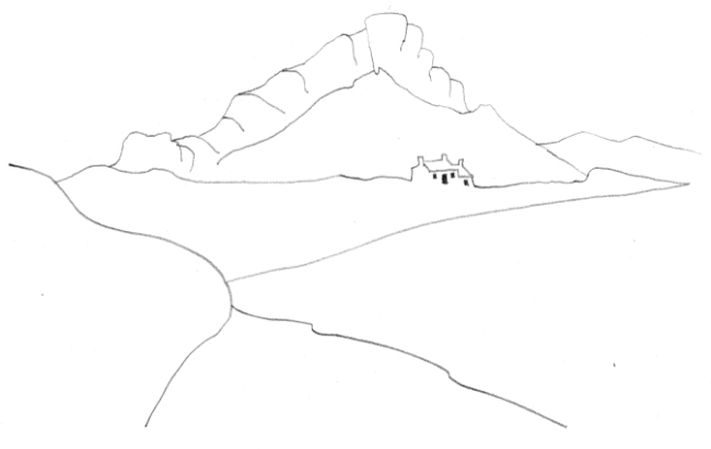Pencil-line drawing of cottage against rock outcrop