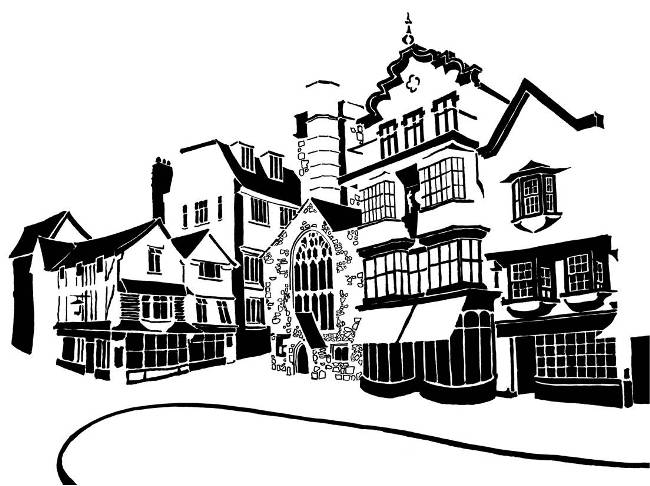 Black and white image of elaborate historic buildings