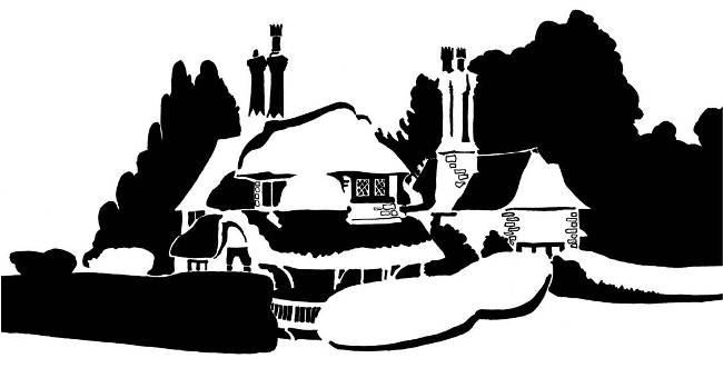 Black and white image of paired thatched cottages