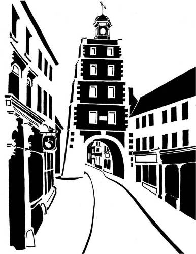 Black and white image of clock tower spanning town street