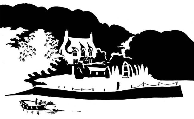 Black and white image of riverside thatched cottage