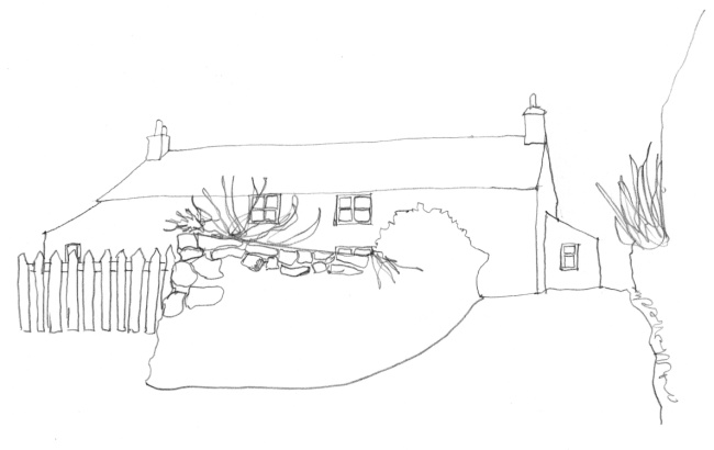 Pencil-line drawing image of long Welsh cottage