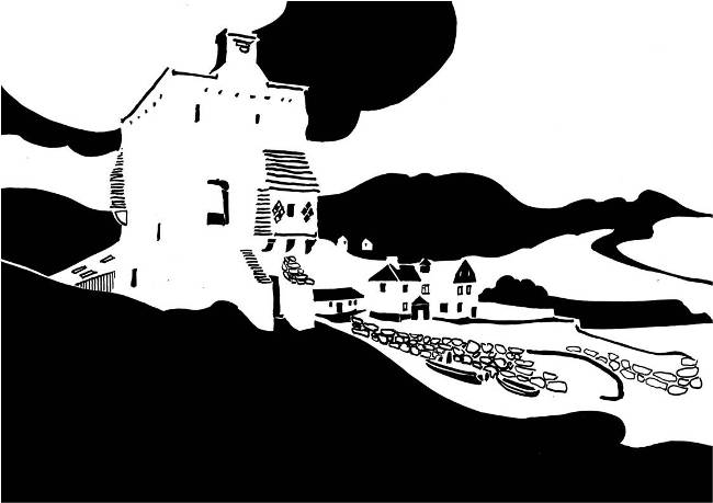 Black and white image of medieval tower on foreshore