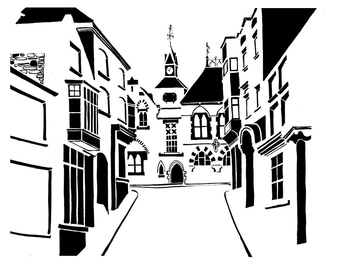 Black and white image of Victorian guildhall on street