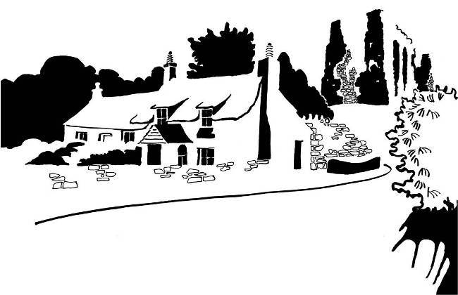 Black and white image of ruined priory and adjoining cottage