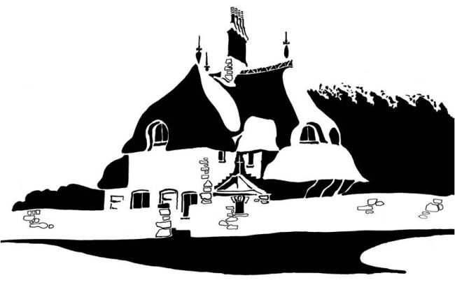 Black and white image of elaborate thatched cottage