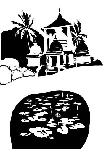 Black and white image of shrine and lotus pond
