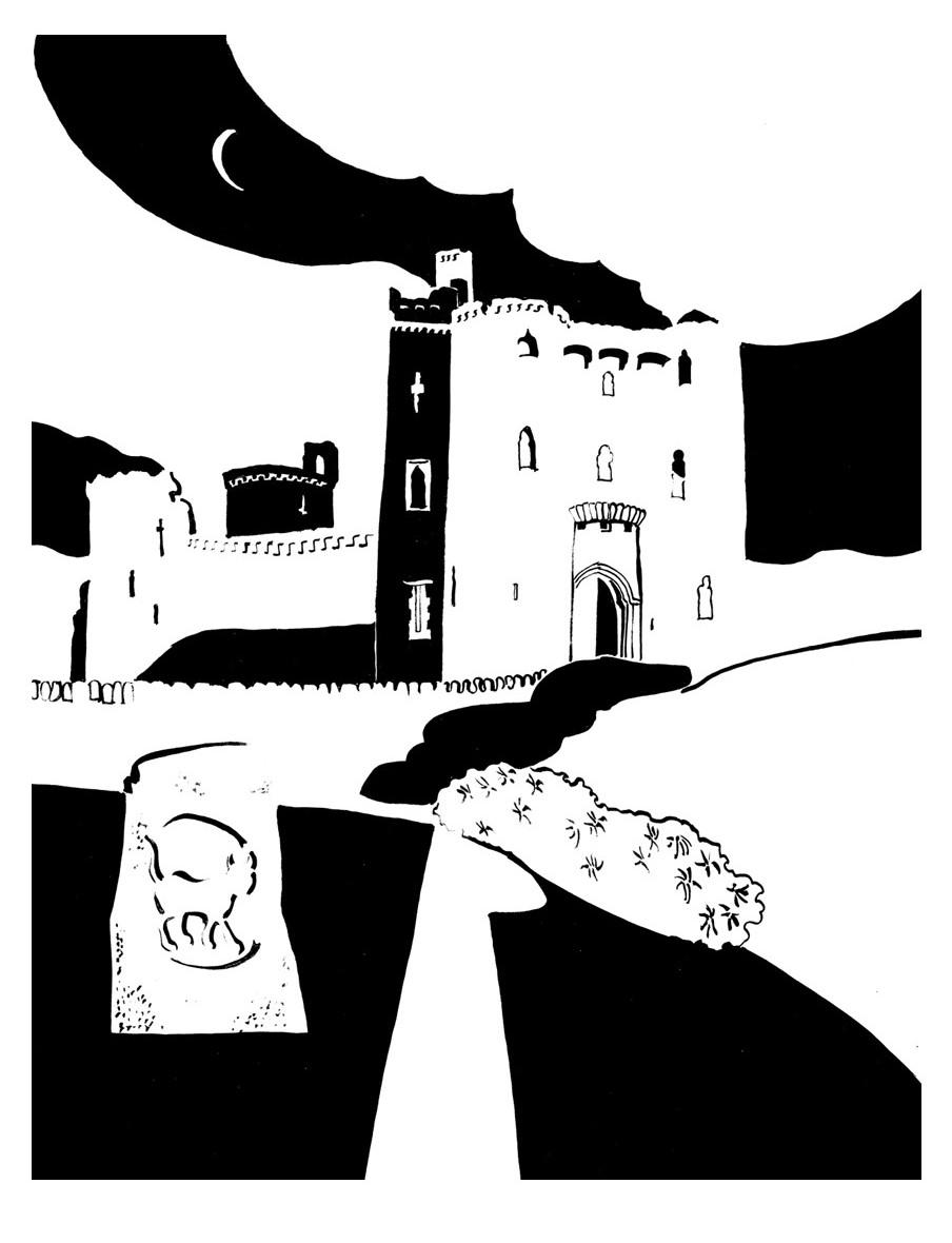 Black and white nighttime image of castle gatehouse