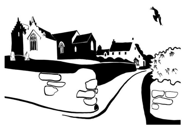 Black and white image of battlemented church and adjoining house