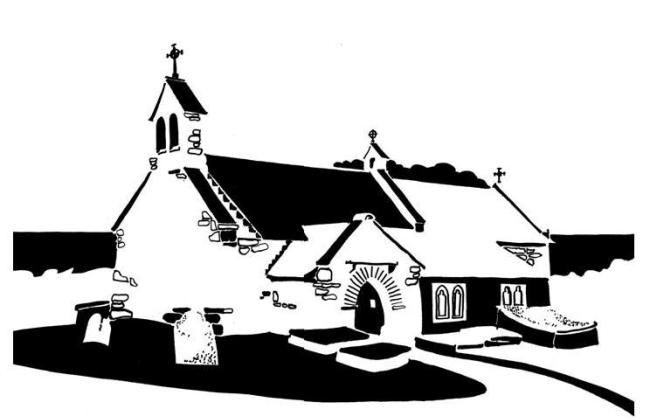 Black and white image of long, low seaside church