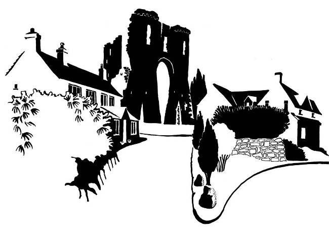 Black and white image of ruined castle gatehouse and adjoining houses