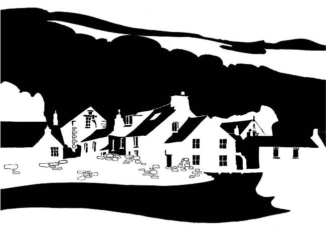 Black and white image of houses in lee of a hill