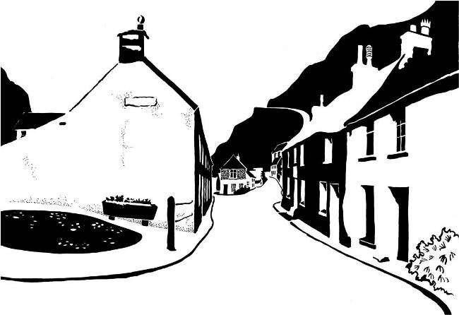 Black and white image of cottages on narrow street against steep hill