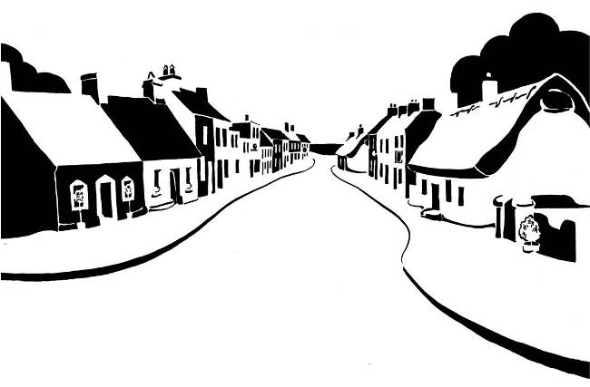 Black and white image of low street houses