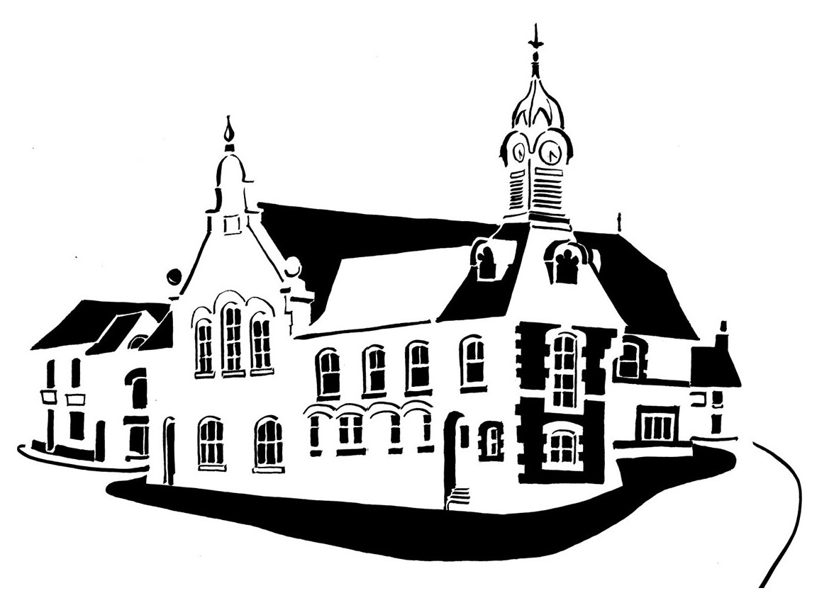 Black and white image of towered market hall