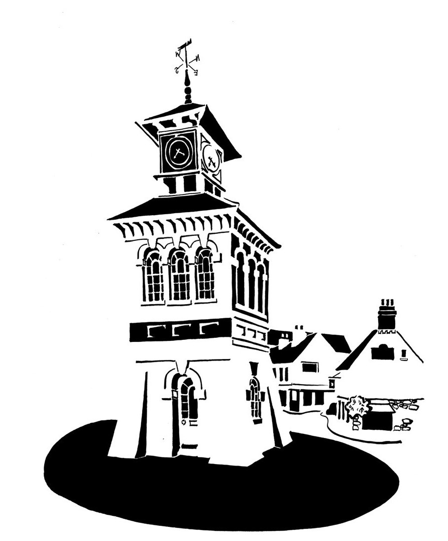 Black and white image of freestanding market tower