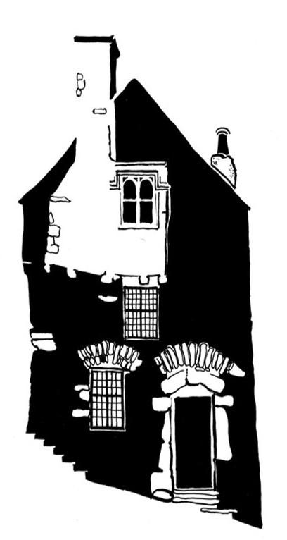 Black and white image of Tudor stone house