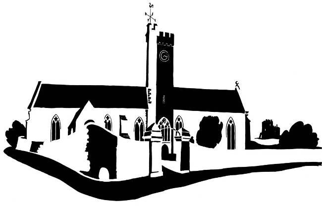 Black and white image of long church with central tower