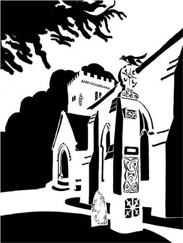 Black and white image of Celtic cross next to church
