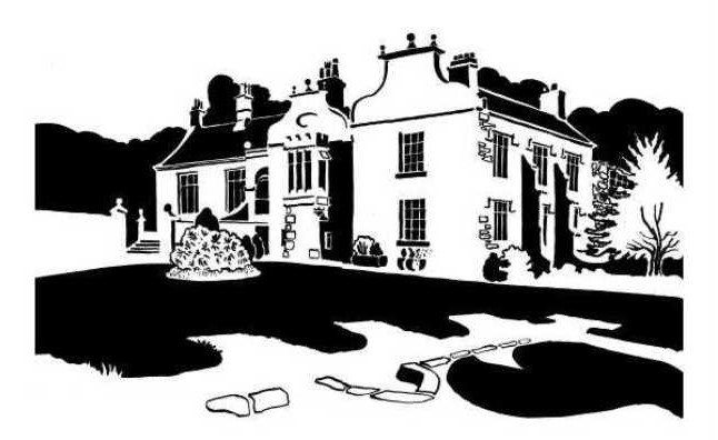 Black and white image of Jacobean-style house and grounds