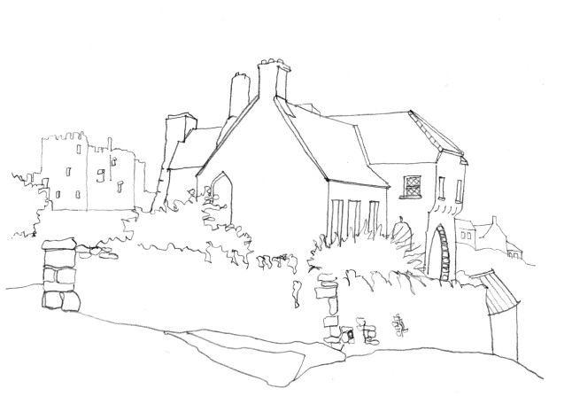 Pencil-line drawing of medieval house with castle behind