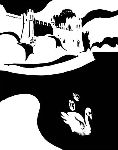 Black and white image of castle and swans on millpond