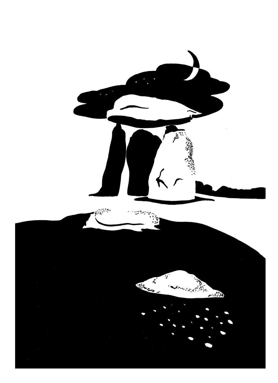 Black and white image of Stone Age cromlech