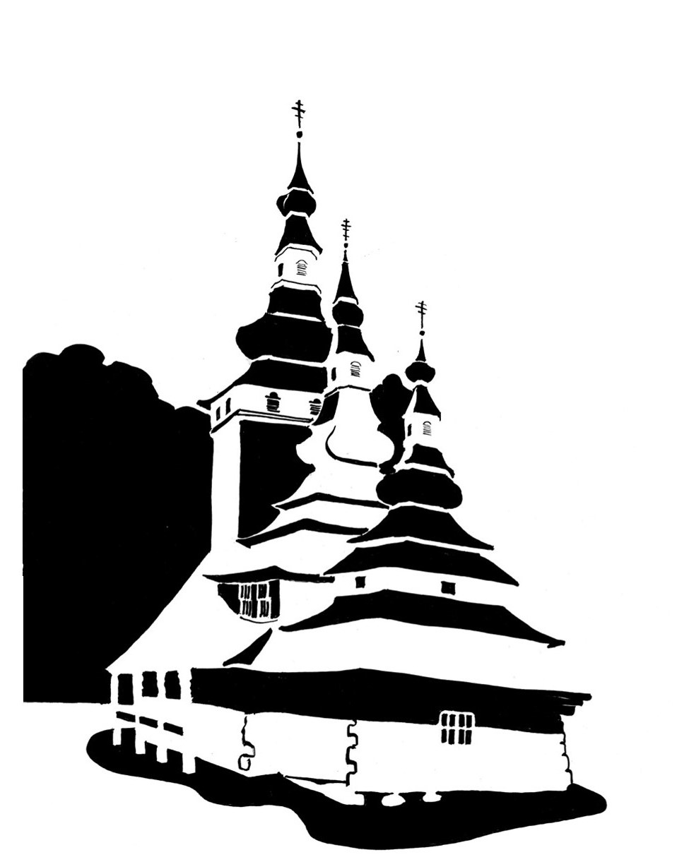 Black and white image of Russian timber church