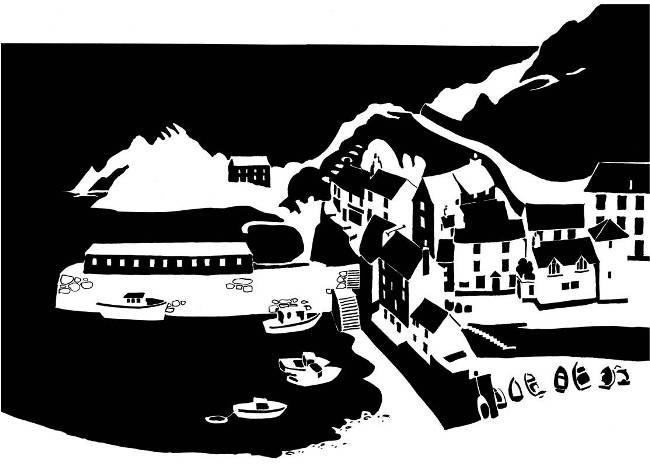 Black and white image of Cornish harbour village