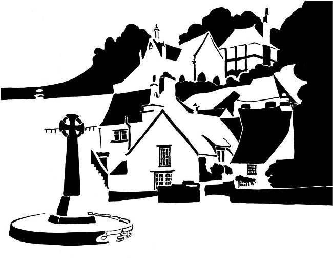 Black and white image of Celtic cross and hillside village