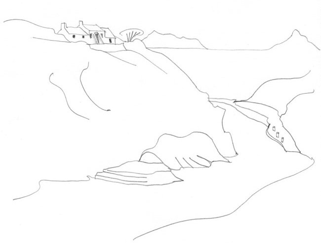 Pencil-line drawing of narrow harbour inlet