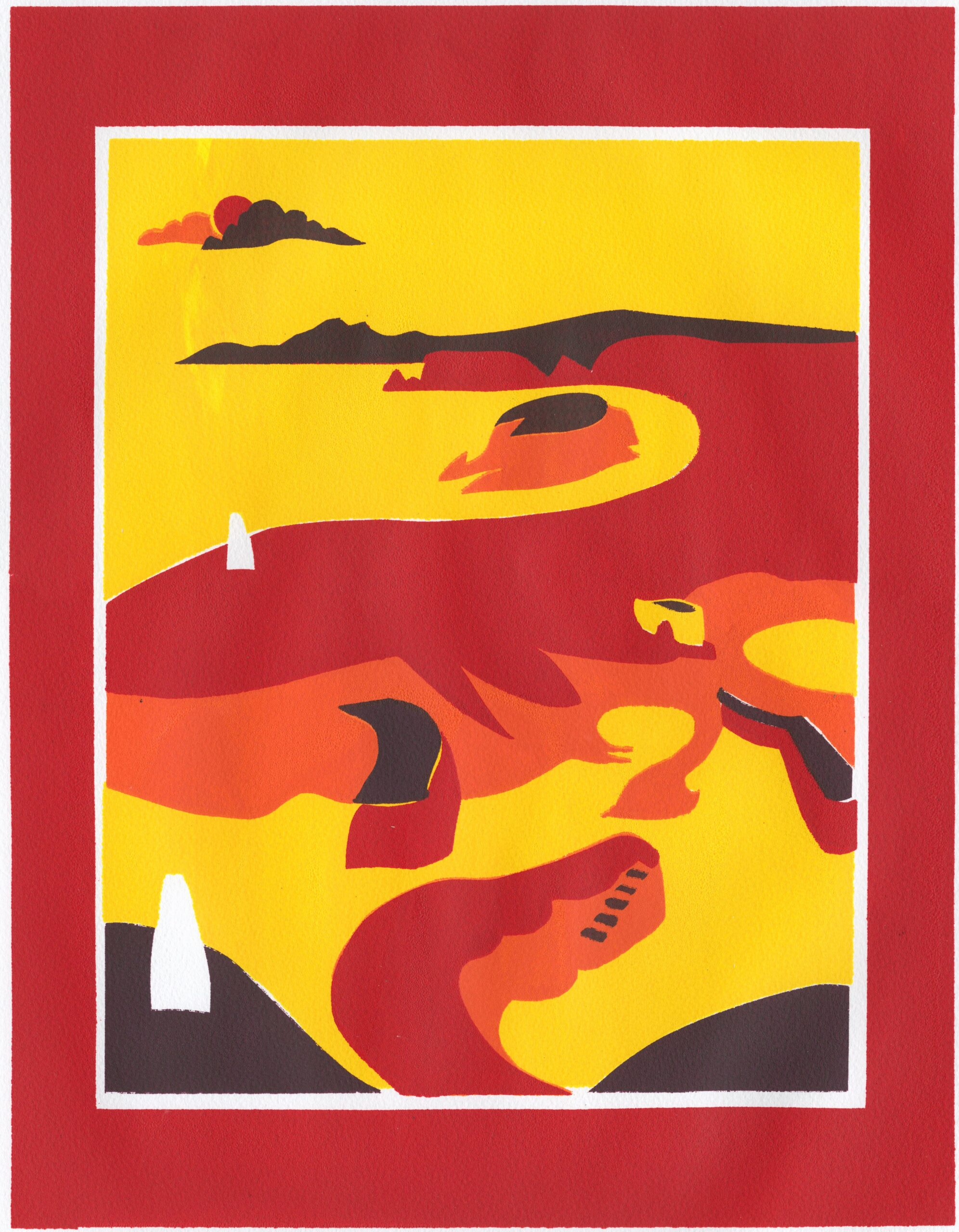 Print of walled harbour in bright colours