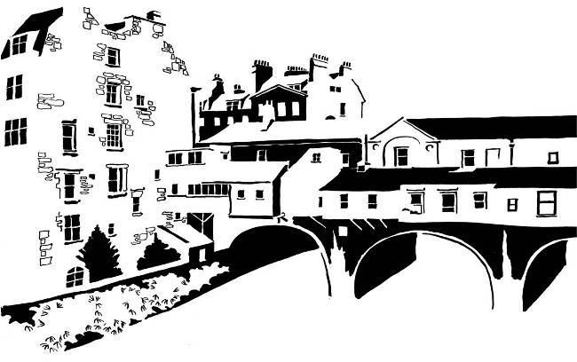 Black and white image of Georgian bridge with houses on it