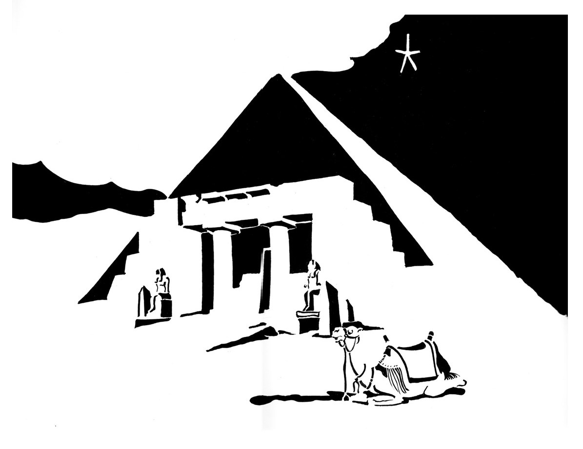 Black and white image of Egyptian pyramid with camel