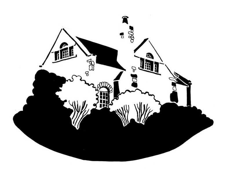 Black and white image of doubled-gabled house