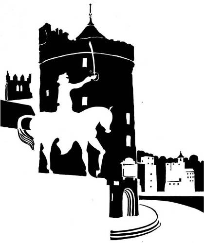 Black and white image of medieval tower and equestrian statue