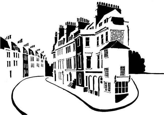 Black and white image of wedge-shaped block of Georgian houses