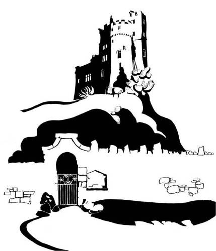 Black and white image of small hilltop castle