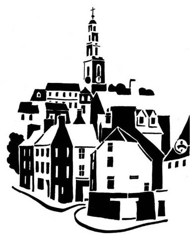 Black and white image of cluster of houses topped by church tower