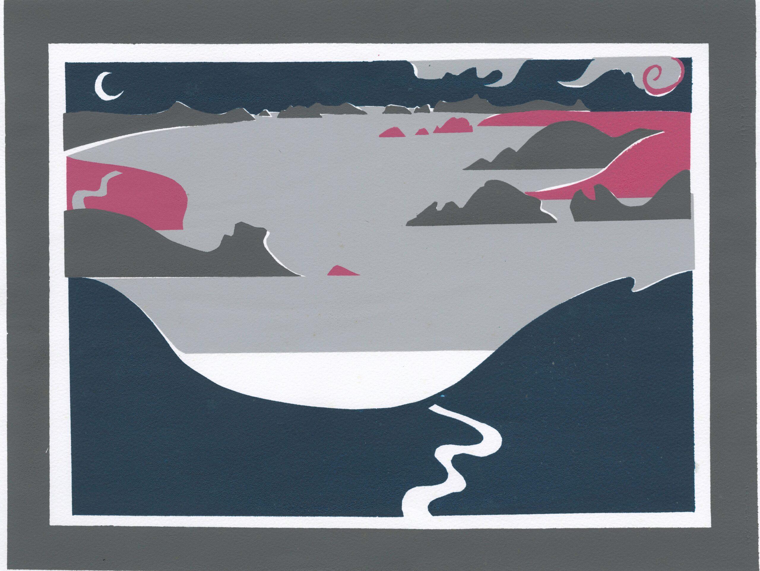 Colour print of nighttime coastal scene