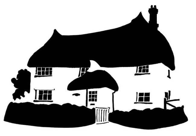 Black and white image of thatched cottage with pointed roofs