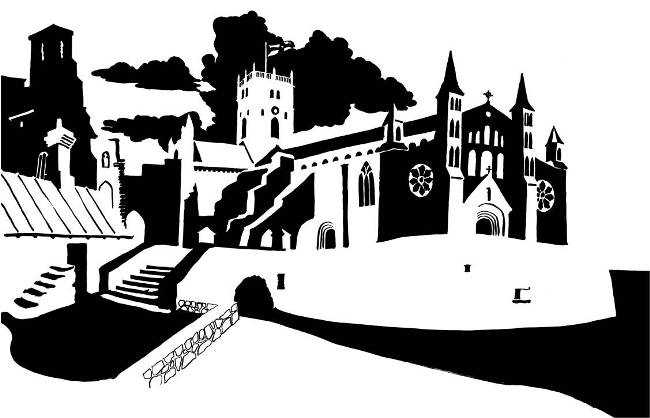 Black and white image of medieval cathedral with stream ford