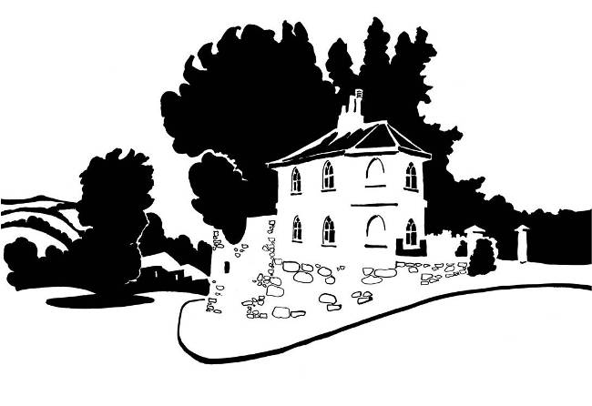 Black and white image of toll house on a hill
