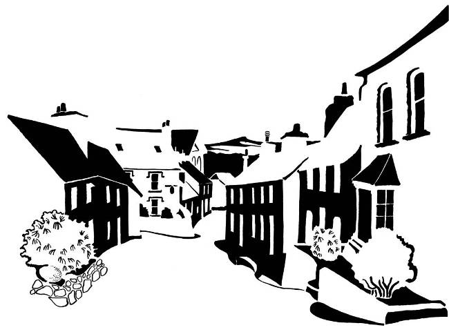 Black and white image of village street with pointed hill in background