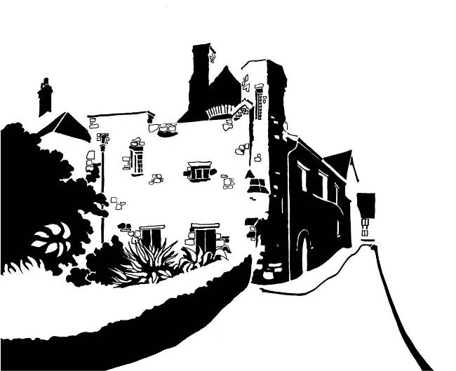 Black and white image of medieval stone building on narrow lane